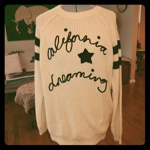 Forever 21 California Dreaming cream sweater NWT